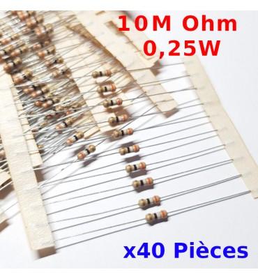 x40 Pcs 10 M Ohm Carbon Resistance , ± 5%  10M 1/4 W 0.25 MF25