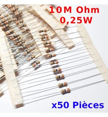 x50 Pcs 10 M Ohm Carbon Resistance , ± 5%  10M 1/4 W 0.25 MF25