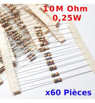 x60 Pcs 10 M Ohm Carbon Resistance , ± 5%  10M 1/4 W 0.25 MF25