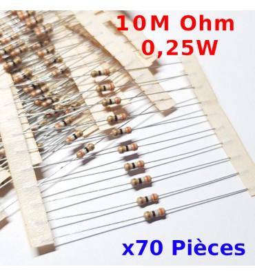 x70 Pcs 10 M Ohm Carbon Resistance , ± 5%  10M 1/4 W 0.25 MF25