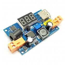 módulo de potencia Paso-Down ajustable LM2596 DC-DC voltímetro LED