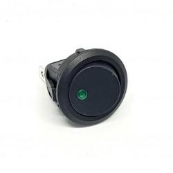 interruttore, Round, il LED di colore verde chiaro, SPST, On-Off, 20A 12V