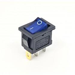 Commutateur à bascule 20x15mm, bleu lumineux, SPST, On-Off, 6A
