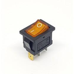 Wippschalter 20x15mm, leuchtend gelb, SPST, On-Off, 6A
