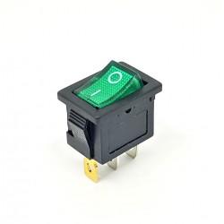 Commutateur à bascule 20x15mm, vert lumineux, SPST, On-Off, 6A
