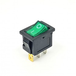 Toggle Switch 20x15mm, Bright Green, SPST, On-Off, 6A