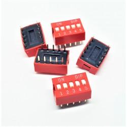 x5 pcs Interrupteur DIP TRU COMPONENTS 5 pôles Slide Type Switch