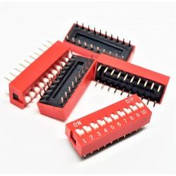 X5PCS DIP SWITCH TRU COMPONENTS 10-POLE SLIDE TYPE SWITCH