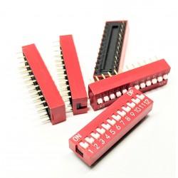 pezzi x5 DIP switch TRU COMPONENTI 12 poli di scorrimento Tipo di interruttore