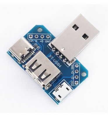 MultiprIse converter 4 USB A, C and Micro USB ports.