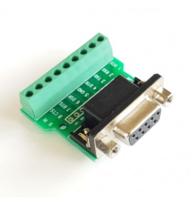 Terminal block to female DB9 adapter without solder