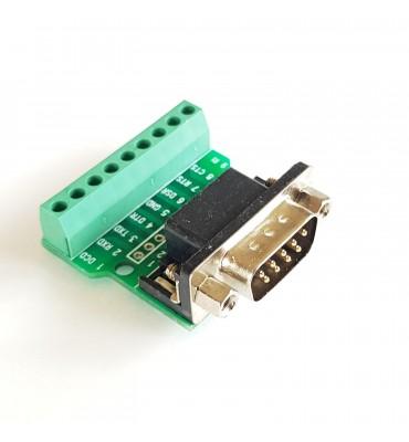 Terminal block adapter to solderless male DB9