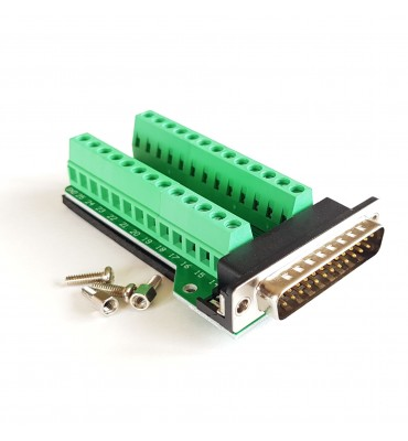 Terminal block to DB25 adapter, 26-pin male plug