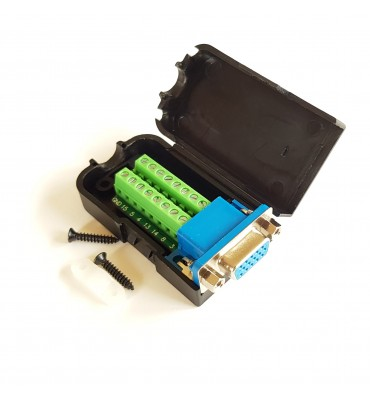D-SUB DB15 female VGA adapter 16-pin terminal block + box