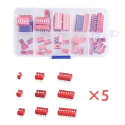 45PCS/LOT Dip Switch Kit In Box 1 2 3 4 5 6 7 8 9Way 2.54mm Toggle Switch Red