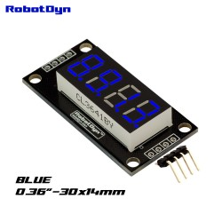 RobotDyn Affichage à LED Bleue 4 chiffres, 7 segments, TM1637, 30x14mm