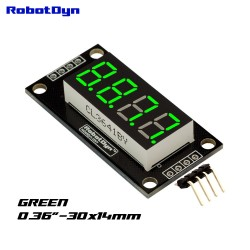 display RobotDyn LED verde de 4 dígitos, 7 segmentos, TM1637, 30x14mm