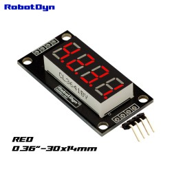 Display LED rosso RobotDyn 4 cifre, 7 segmenti, TM1637, 30x14mm