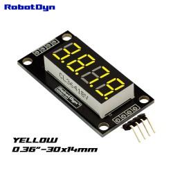 RobotDyn Affichage à LED Jaune 4 chiffres, 7 segments, TM1637, 30x14mm