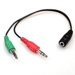 Y- Splitter 1 Hembra a 2 Cable macho Micrófono Adaptador de audio estéreo