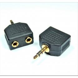 3.5mm Stereo Jack Headphone Splitter Adaptor (1 Plug To 2 Jacks)