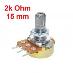 2K Ohm B2K Linearpotentiometer WH148 mit Muttern und Unterlegscheiben