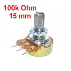 Potenciómetro 100k ohm B100K lineal WH148 con tuercas y arandelas