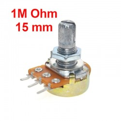 Potentiometer 1M Ohm B1M linear WH148 mit Muttern und Unterlegscheiben