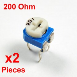 Resistori x2 pezzi VARIABILE 200 Ohm (201) CARBONIO ORIZZONTALE rm-065