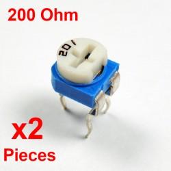 x2 Pcs Resistances VARIABLE 200 Ohm (201)  HORIZONTAL CARBONE rm-065