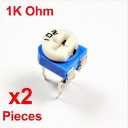 x2 resistencias de PC VARIABLE 1K Ohm (102) CARBONO HORIZONTAL rm-065