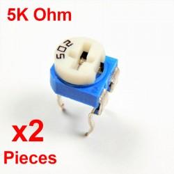 x2 Pcs Resistances VARIABLE 5K Ohm (502) HORIZONTAL CARBONE rm-065