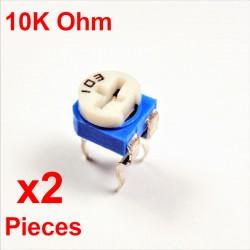 x2 Stück Widerstände VARIABLE 10K Ohm (103) HORIZONTALER KOHLSTOFF rm-065