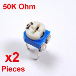 Resistori x2 pezzi VARIABILE 50K Ohm (503) CARBONIO ORIZZONTALE rm-065