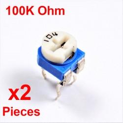 Resistori x2 pezzi VARIABILE 100K Ohm (104) CARBONIO ORIZZONTALE rm-065