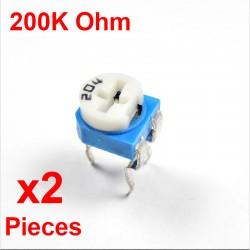 x2 Pcs Resistances VARIABLE 200K Ohm (204)  HORIZONTAL CARBONE rm-065