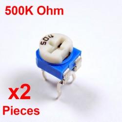 Resistori x2Pcs VARIABILE 500K Ohm (504) CARBONIO ORIZZONTALE rm-065