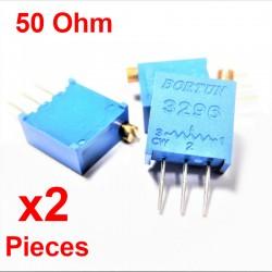 x2 Pcs Potentiomètre variable 50 ohm multitours vertical Trimpot 3296W-1-500LF