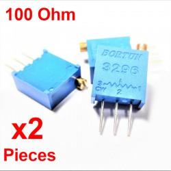 x2 Pcs Potentiomètre variable 100 ohm multitours vertical Trimpot 3296W-1-101LF