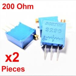 x2 Pcs Potenziometro variabile verticale multiturn da 200 ohm Trimpot 3296W-1-201LF