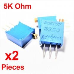 x2 Pcs Potentiomètre variable 5K ohm multitours vertical Trimpot 3296W-1-502F