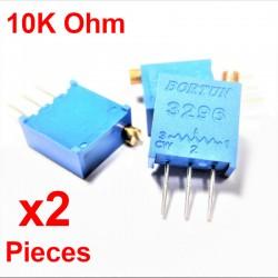 x2 Pcs Potentiomètre variable 10K ohm multitours vertical Trimpot 3296W-1-103LF
