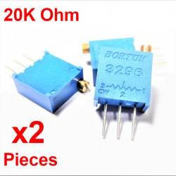 x2 Pcs Potenziometro variabile verticale multiturn da 20K ohm Trimpot 3296W-1-203F
