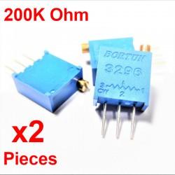 x2 Pcs Potentiomètre variable 200K ohm multitours vertical Trimpot 3296W-1-204F
