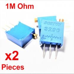 x2 Pcs Potentiomètre variable 1M ohm multitours vertical Trimpot 3296W-1-105F