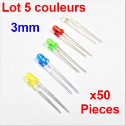 x50 pcs 3mm LED Diode Kit Mixed Color Red Green Yellow Blue White