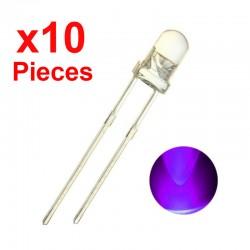 x10 LED de 5mm Ultraviolet, Diode UV Ultra Violet Pourpre