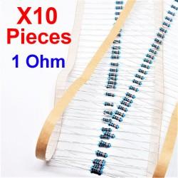 x10 Stk. 1 Ohm, Durchgangsbohrungswiderstand, ± 1% 1R 1/4 W 0,25 MF25