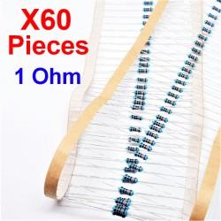 x60 Pcs 1 Ohm, Résistance traversante, ± 1% 1R 1/4 W 0.25 MF25