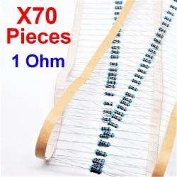 x70 Pcs 1 Ohm, Résistance traversante, ± 1% 1R 1/4 W 0.25 MF25